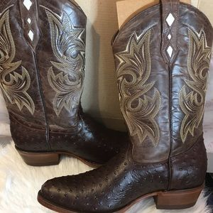 Men's Brown Leather Tooled Cowboy Boots👢